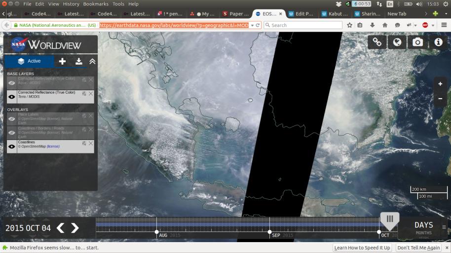 Hampir seluruh bagian Pulau Sumatera dan Kalimantan ditutupi asap pada tanggal 20 Oktober 2015